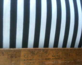"Poly Cotton 1/2 inch Thin Stripes Print Black White 60"" Fabric by the Yard - 1  Yard"