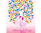 Kissing Wedding Couple Silhouette with flying balloons Guest Book Poster - Wedding Guest Book - Free Gift with Purchase