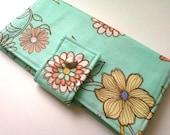 Handmade Womens Wallet Bifold Mint Green Peach Floral Zipper Travel Organizer Summer Accessories Vegan Wallet