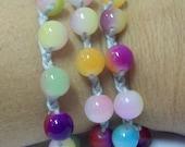 Multi-Colored Glass Bead Crocheted Wrap Bracelet