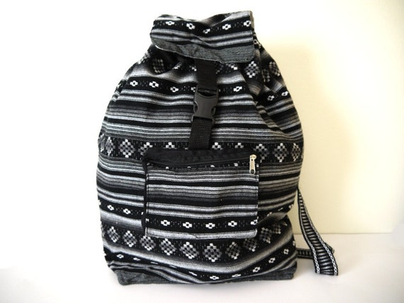 Tribal Fabric Backpack, Latin American, Peru, Black & White Stripes