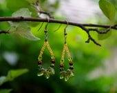 Glass Leaf Teardrop Hoop Earrings
