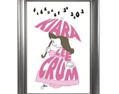 Girl under Umbrella - Custom Personalized Newborn Print or Wall Art UNFRAMED
