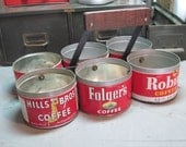 Vintage coffee can parts container