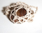 macrame beach stone pendant, fossil bivalve pendant with macrame tether