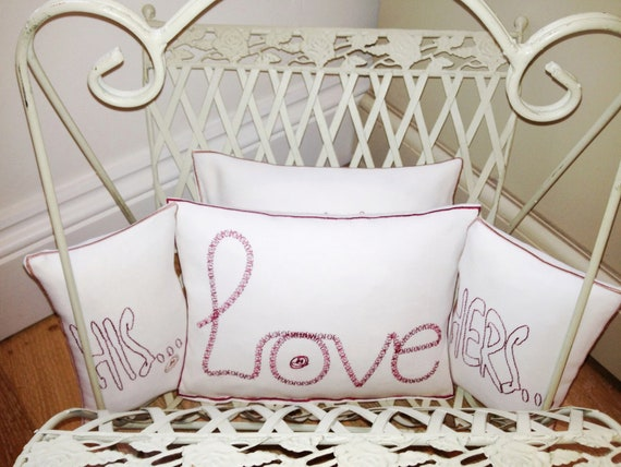Love, XOXO, His/Hers, with love - Artistic Embroidery - Throw Cushion