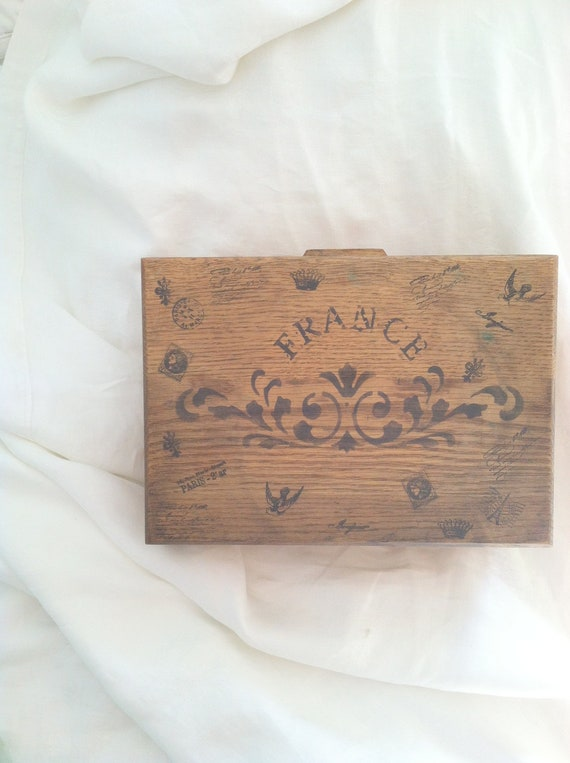 Vintage Farmhouse French Inspired Solid Oak Wood Box