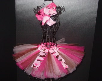 TuTu Skirt and Headband Two Piece Set Newborn to 6 Months Pink CAMO Camoflauge Baby Infant CUSTOM