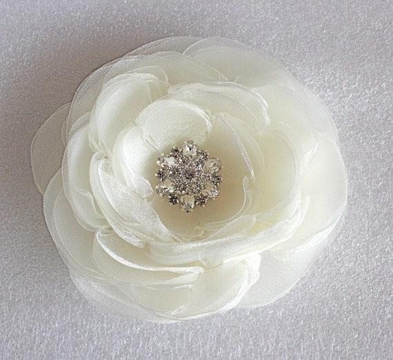 Large ivory wedding hair flower with rhinestone -wedding hair accessories - ivory bridal hair clip