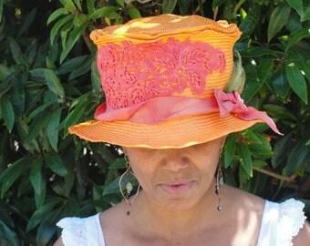 Mad Hatter-Bowler--Edwardian -Orange Straw Hat- New Hand Blocked- Vintage Inspired Hat w/Brim--Melon -Brightly Colored Straw Hat-CUSTOM ONLY