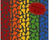 10 Digital Scrapbook Paper - zebra and girafe rainbow pattern - Pack 29 - BUY 2 GET 1 FREE