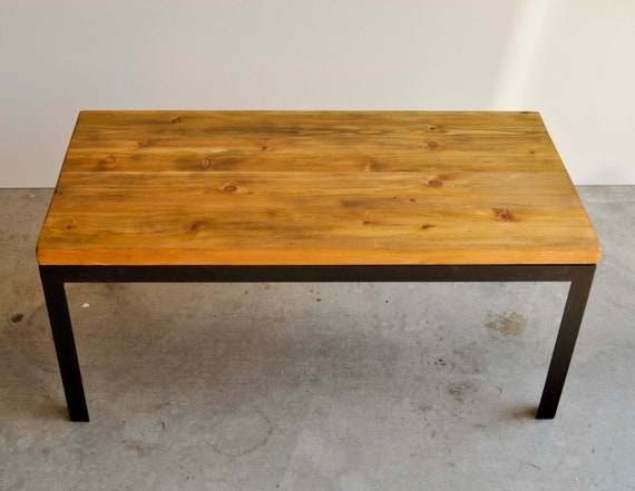 Items similar to Hand scraped cedar and black metal coffee table