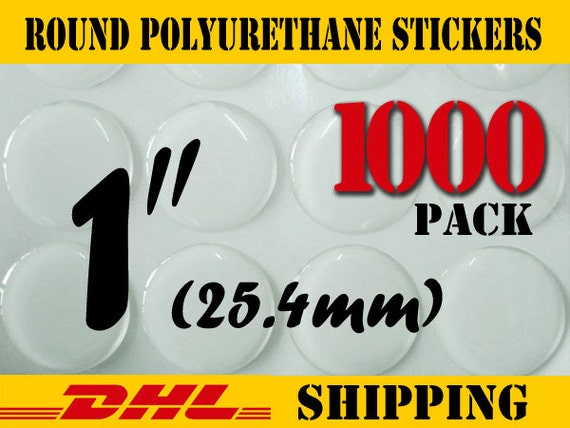 1000 pcs Round 1 inch ( 25.4 mm ) Clear PU (Polyurethane) Stickers
