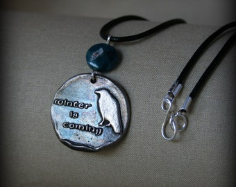 Winter is Coming White Bronze Apatite Necklace