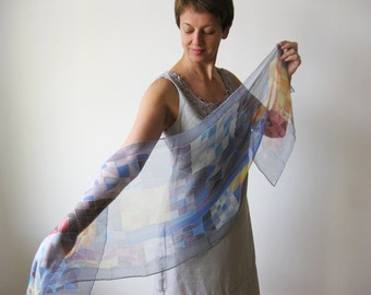 Blue silk scarf, abstract chiffon scarf, hand painted scarf, geometric scarves, silk accessories, woman gift - made TO ORDER