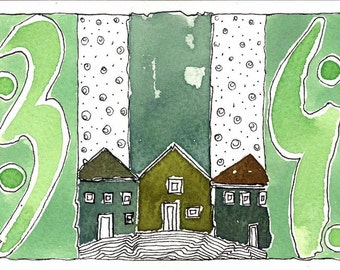 Green Houses.Watercolor painting. Original Painting, Home Decor