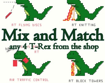 Cross Stitch Patterns -- Mix and Match T-Rex Set -- 4 patterns of T-Rex chosen from all the T-Rex in the shop