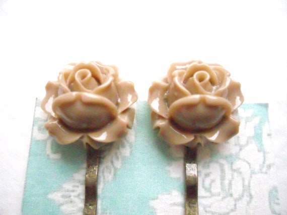 Coffee Rose Bobby Pins, flower hair grips Rosebud Bronze latte beige  clips slides accessories