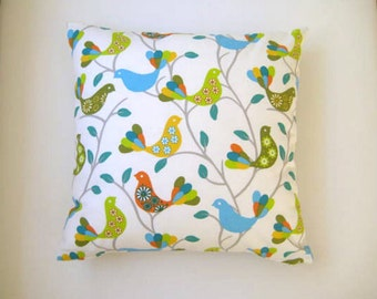 """Spring Home Decor - Bird Print Pillow Cover - Linen Fabric Green Blue and Yellow Birds and Gray Tree Print - 18x18"""""""