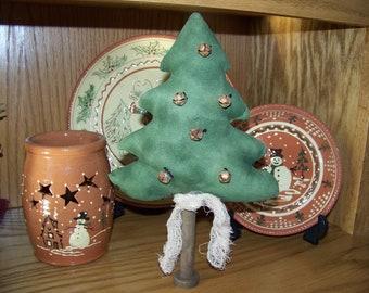 Primitive Fabric Art Christmas Tree Decoration/Make Do On Vintage Wooden Bobbin