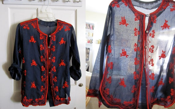 Sheer Navy and Red Button Down Blouse, Embroidered, Long Sleeve, Cover up