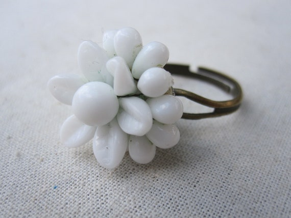 Vintage White Milk Glass Repurposed Earring & Bronze Adjustable Ring