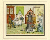 DOMESTIC FAMILY SCENE, with Cat, Victorian, c.1875, Antique Oven Advertising, Vintage Kitchen, Acid-Free Mat, Ready to Frame