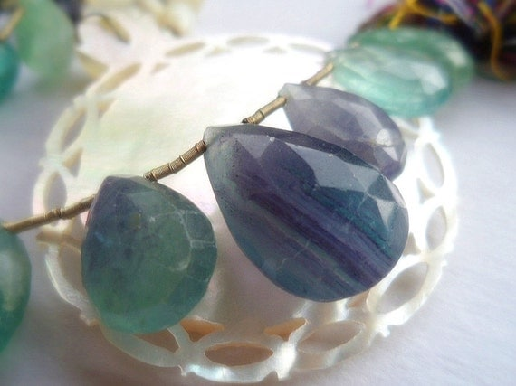 FULL STRAND Multi Color Fluorite Faceted Pear Briolette Beads - Gemstone - 20 pcs - Green - Purple - Aqua - Teal
