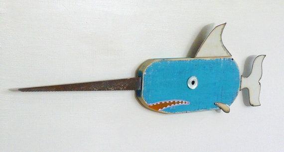 Repurposed wood whimsical fish sculpture, MARLIN Brando