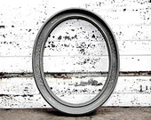 Ornate Dark Gray Oval - Rustic Shabby Chic Distressed Rustic Charcoal Grey Round Picture Frame - Gallery Mantle Wall Wedding Decor - TheDustyNook