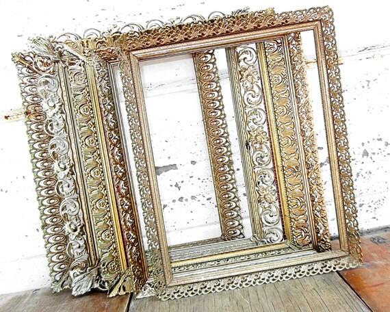set of 5 extra ornate 8x10 metal frames five 8 x 10 gold. Black Bedroom Furniture Sets. Home Design Ideas