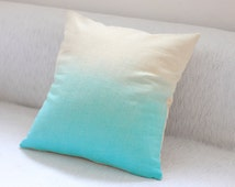 Blue Dip Dye Cushion Cover / Ombre Pillow Cover - Hand Dyed