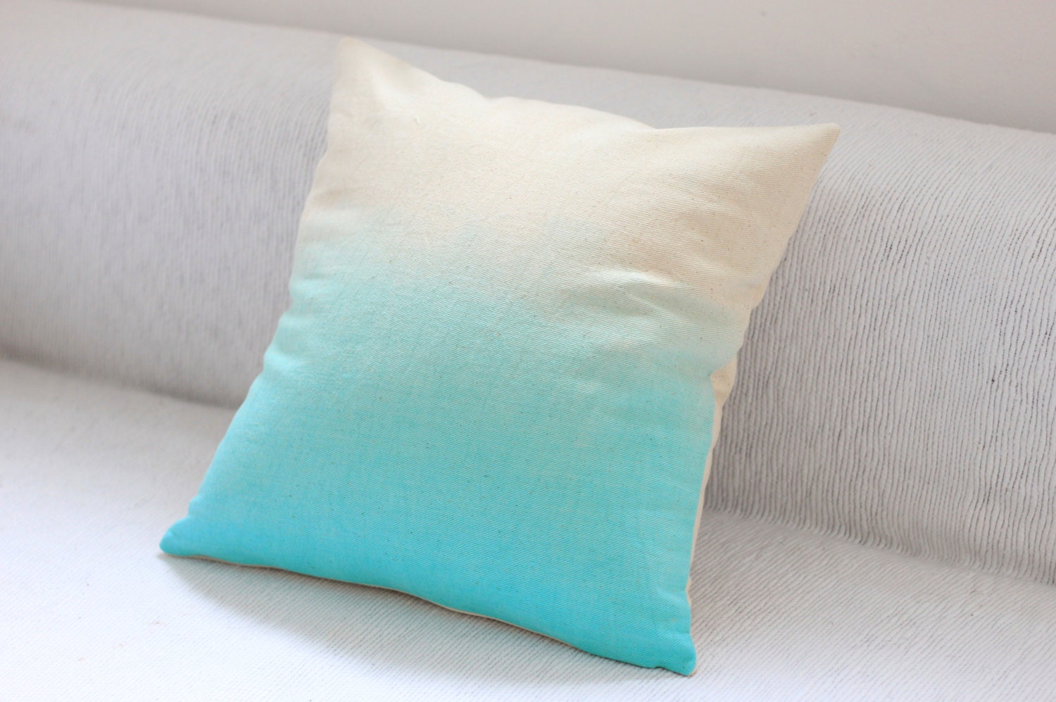 blue dip dye cushion cover ombre pillow cover hand dyed. Black Bedroom Furniture Sets. Home Design Ideas