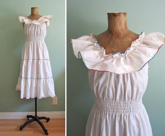 SALE vintage white sundress/ 1970s ruffle sundress/ 70s boho peasant sundress S-M