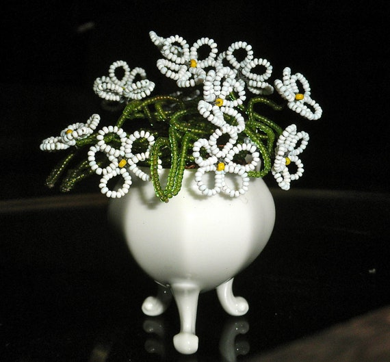 limoges beaded flowers and vase by gallery122 on etsy