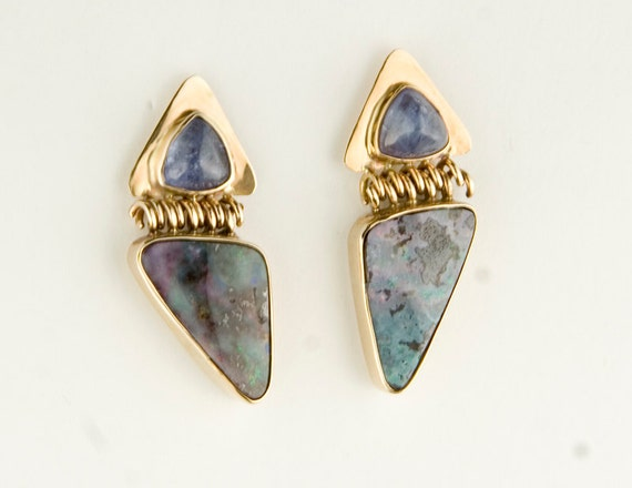 14k Gold Boulder Opal and Tanzanite Post Earrings