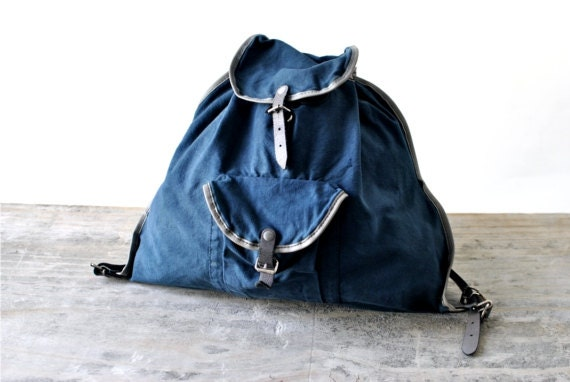 SALE Vintage backpack bag teal sodalite blue fashion accessories 80s festival