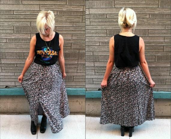 Vintage 90's Grunge FLORAL MAXI Skirt Button Down