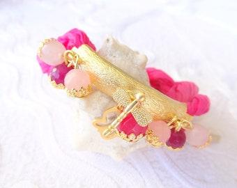 Fuchsia Turkish Silk Bracelet-Gold Bracelet-Semi-Precious Stone Bracelet