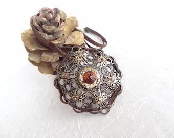 Vintage  with Art Deco Rhinestone, Vintage Pendant,Women's Jewelry,Vintage Necklace,OOAK Feminine Handmade Jewelry,Valentine's, Mother's Day