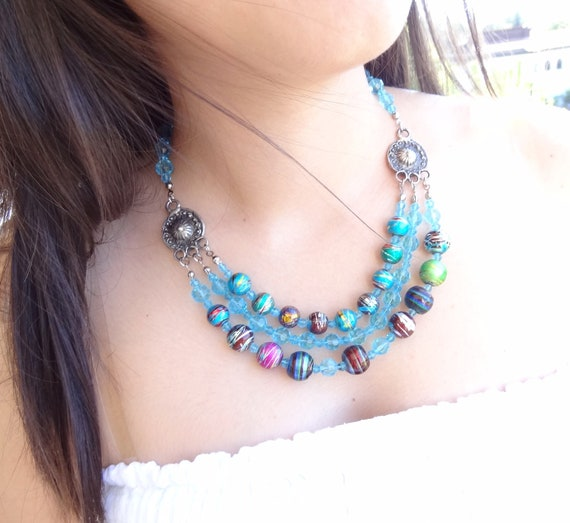 Reserved Franca  Blue Glass  Beads Necklace- Feminine, Handmade, OOAK, Christmas,