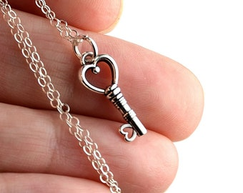 All Sterling Silver Key Necklace, sterling necklace, minimalist jewelry, charm necklace
