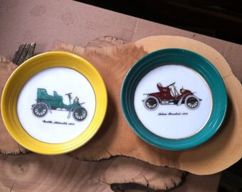 Pair of Vintage Ceramic Auto Saucers : Autocar Runabout 1902 //Cadillac Automobile 1903 Perfect Mancave Home Decor or Fathers Day