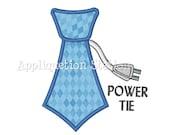 Necktie Power Tie Boys Applique Machine Embroidery Design boy Blue INSTANT DOWNLOAD