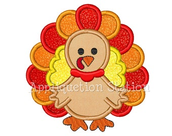 Turkey 2 color Applique Machine Embroidery Design orange harvest thanksgiving Fall INSTANT DOWNLOAD