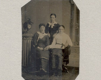 Tintype of a Mom and Her 2 Daughters ~ Holding Hands