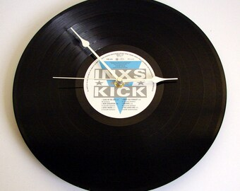"INXS Recycled VInyl Record CLOCK 12"" album. Unique gift for husbands, wives, girlfriends..."