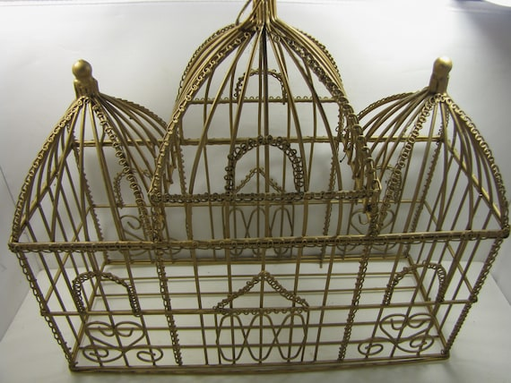 Unique Vintage Brass Wire Topiary Cage