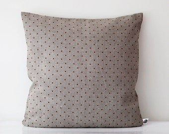 Linen pillow  26x26 - decorative covers - shams - throw pillows - red polka dot pattern - linen cushion, linen throw pillows   0099