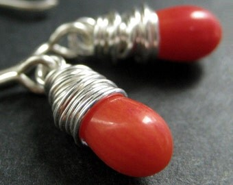 Orange Coral Earrings. Teardrop Earrings Wire Wrapped in Silver. Handmade Jewelry.